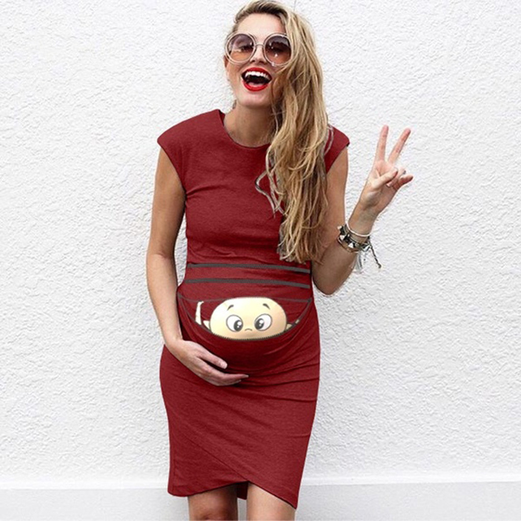 Summer Dresses For Pregnant Women maternity dresses Baby Print Pregnant Maternity Maternity Props Bodycon Casual Dresses 2019 1