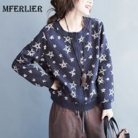 Mferlier Autumn Winter Jackets For Women O Neck Artsy Single Breasted Long Sleeve Star Print Blue