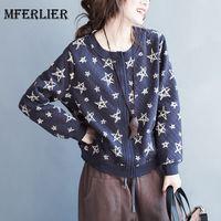 Mferlier Autumn Winter Jackets For Women O Neck Artsy Single Breasted Long Sleeve Star Print Blue