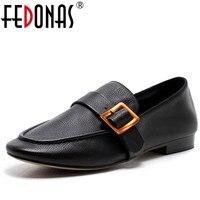 FEDONAS Top Kalite Kadınlar Hakiki Deri Flats Ayakkabı Rahat Yumuşak Deri Rahat Ayakkabılar Moda Tokalar Düz Loafer Ayakkabı