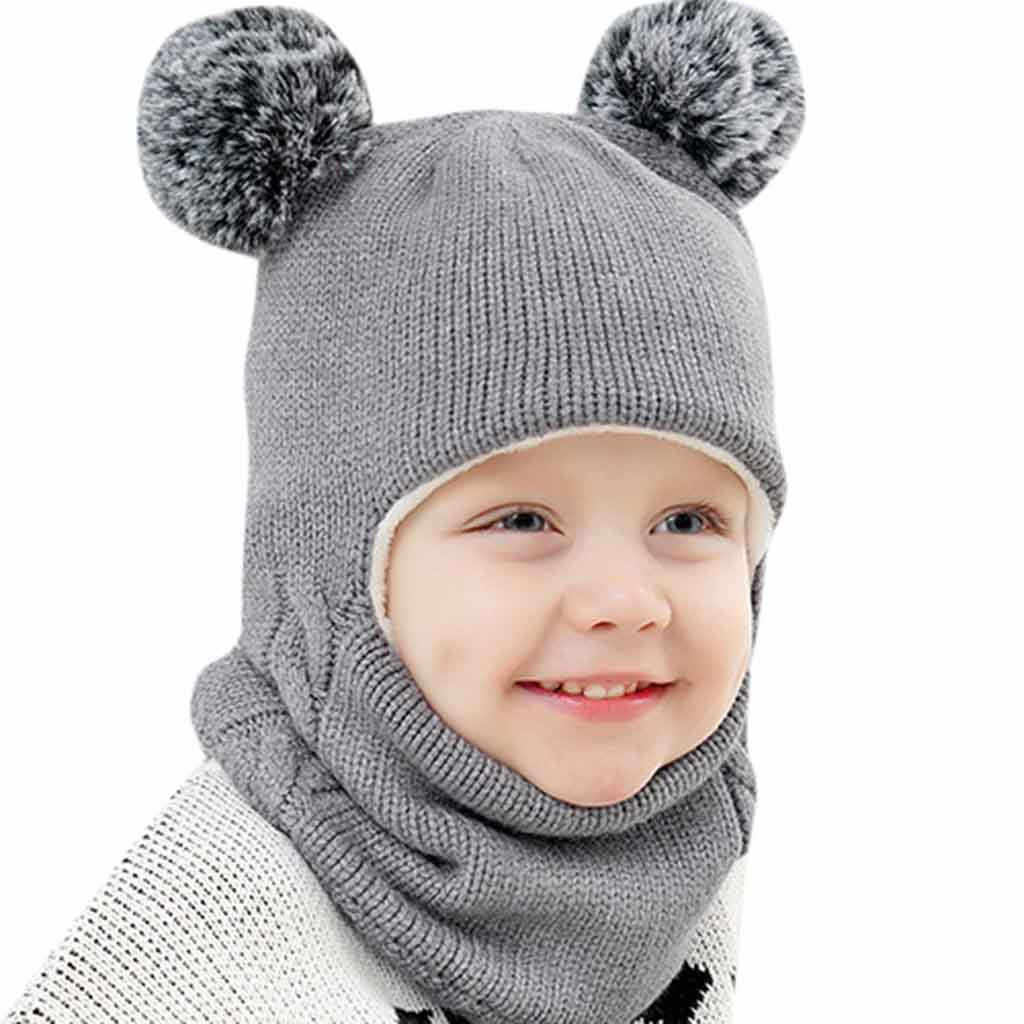 Kids Winter Hats Ears Girls Boys Children Warm Caps Scarf Set Baby Bonnet Enfant Knitted Cute Hat for Girl Boy 1D18