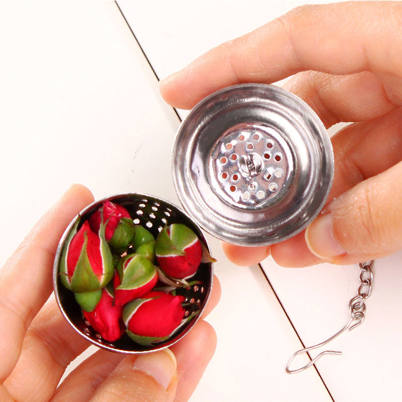 1X NEW Kitchen Tool Stainless Steel Ball Herbal Spice Filter Diffuser Tea Strainer