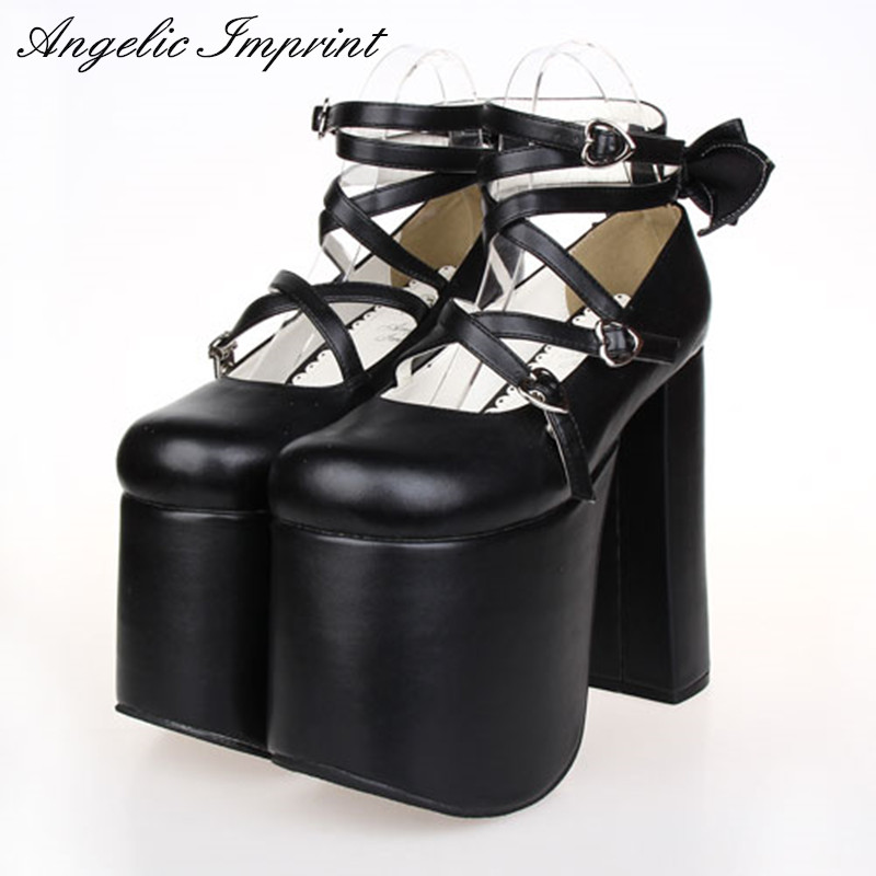 Japanese Punk Lolita Cosplay Shoes Criss Cross Super Thick Platform 15cm High Heel Gothic Queen Pumps