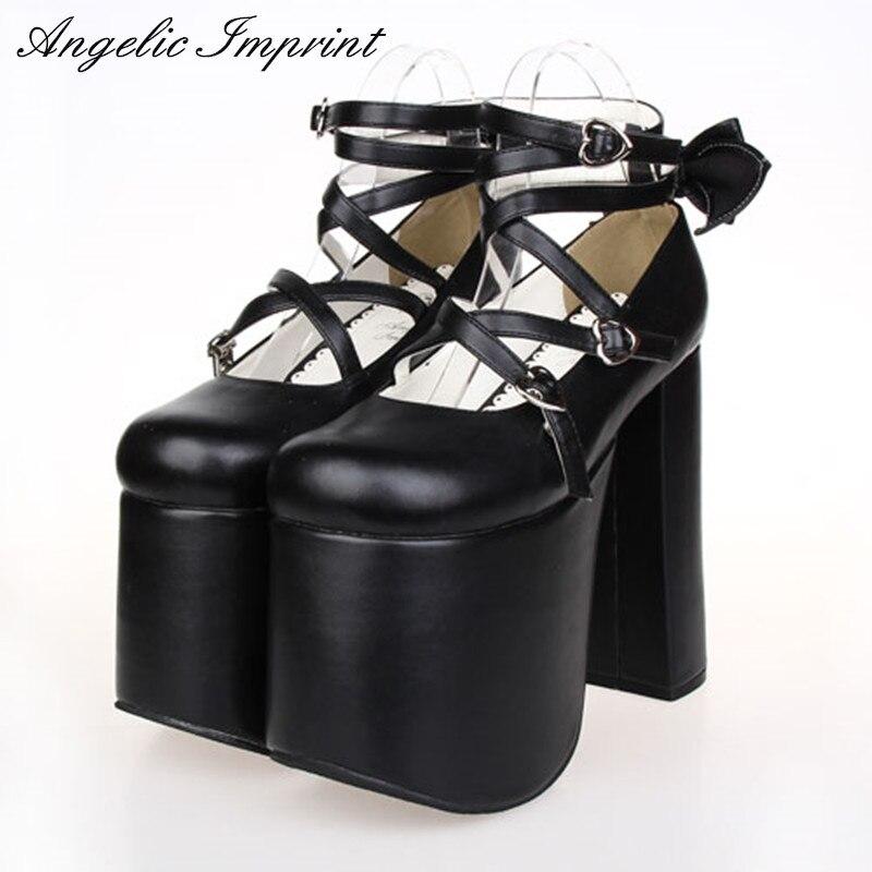 Японский Панк Лолита косплей обувь Criss Cross супер на толстой платформе 15 см Высокий каблук Gothic королевы насосы
