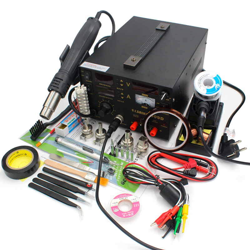 high quality soldering iron saike 909D rework station hot air gun soldering station with power supply
