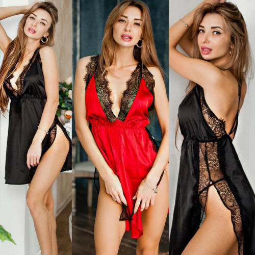 Fashion Women's Sexy Deep V-neck Sleeveless Backless Split Sleep Dress Lady Summer Charming Sleepwear Dress M-XXXL