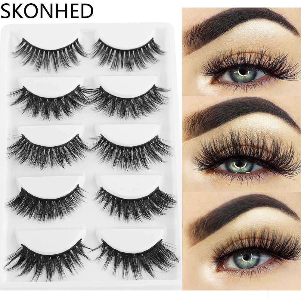 956a9da76f0 5 Pairs Mixed Multipack 3D Soft Mink Hair False Eyelashes Wispy Long Lashes  Natural Eye Makeup