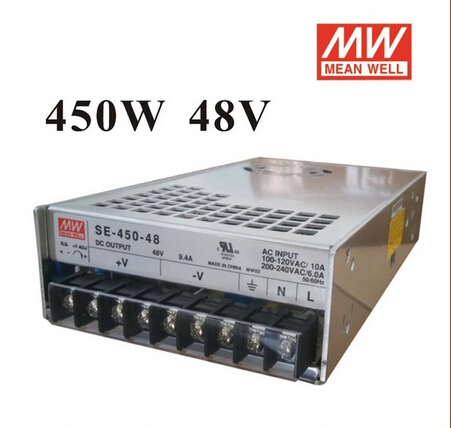 2pcs/lot High Reliability Mean Well Switching Power Supply Stepper Power 450W 48V 9.4A SE-450-48 for Communication CNC Control high reliability and high accuracy 15v 1a power supply used in labs educational laboratories