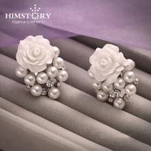 купить Korean Designs Flower Faux Pearl Rhinestones Flower Designs Wedding Earring ,Girls Birthday New Year Earring Gift  по цене 323.38 рублей