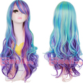Free Shipping 80cm Purple Blue Wavy Rainbow Synthetic Long Colorful Wig Cosplay Natural