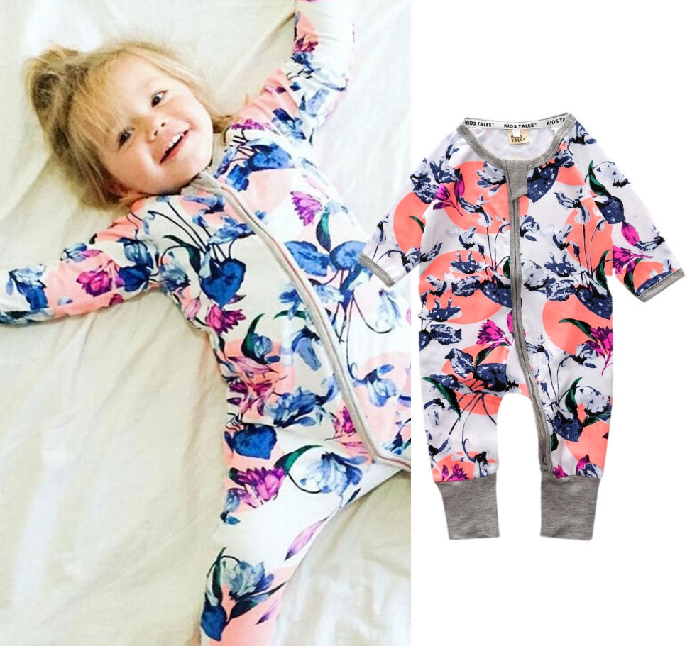 Newborn Toddler Infant Baby Girls Floral Clothing Zipper Cute Romper Jumpsuit Long Sleeve Outfit Clothes fashion 2pcs set newborn baby girls jumpsuit toddler girls flower pattern outfit clothes romper bodysuit pants