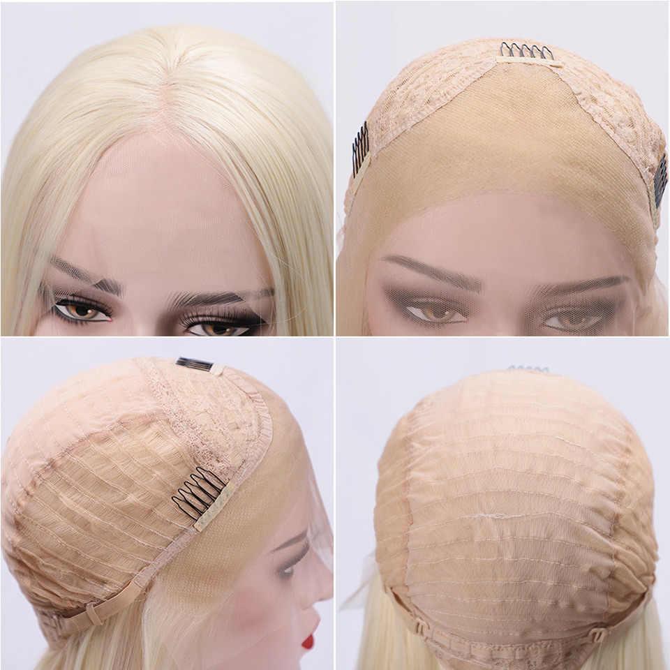 Peluca rubia recta de seda larga con encaje sintético pelucas frontales naturales para mujer