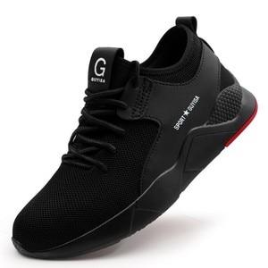 Image 4 - 작업 안전 신발 남자의 강철 발가락 캐주얼 통기성 야외 스 니 커 즈 펑크 증거 부츠 남자에 대 한 편안한 산업 신발
