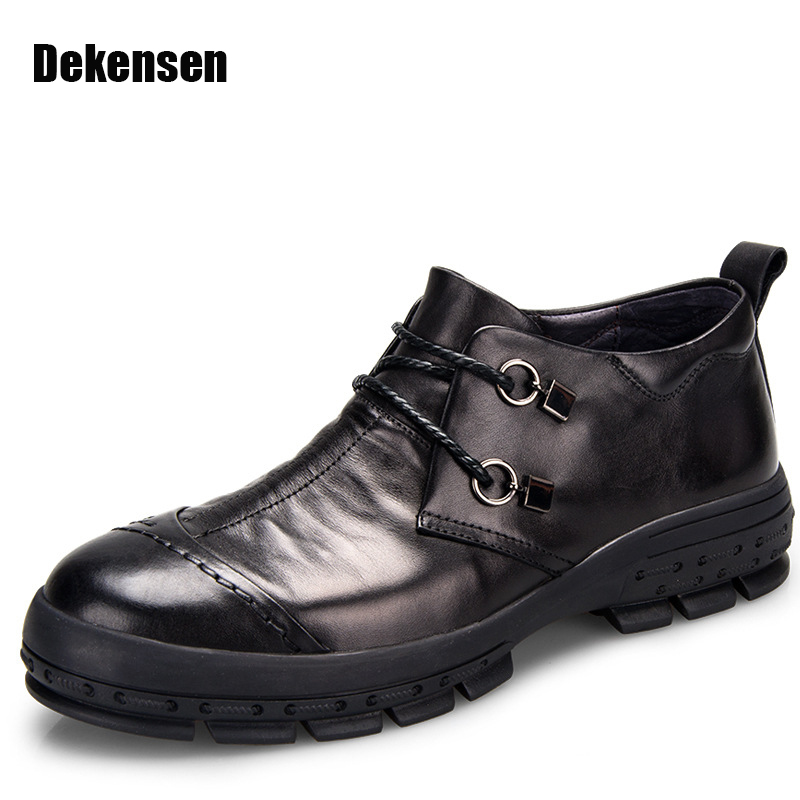 New Fashion Men Dress Shoes Round Toe Genuine Leather Business Shoes Vintage Classic Men Oxfords Walking Leather Wedding Shoes