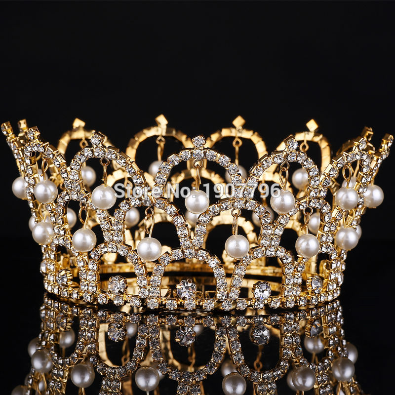 Big European Royal Crown Gold Or Silver Rhinestone Tiara ...