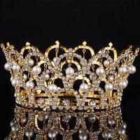 Big European Royal Crown Gold Or Silver Rhinestone Tiara Super Large Queen Crown Wedding hair Accessories