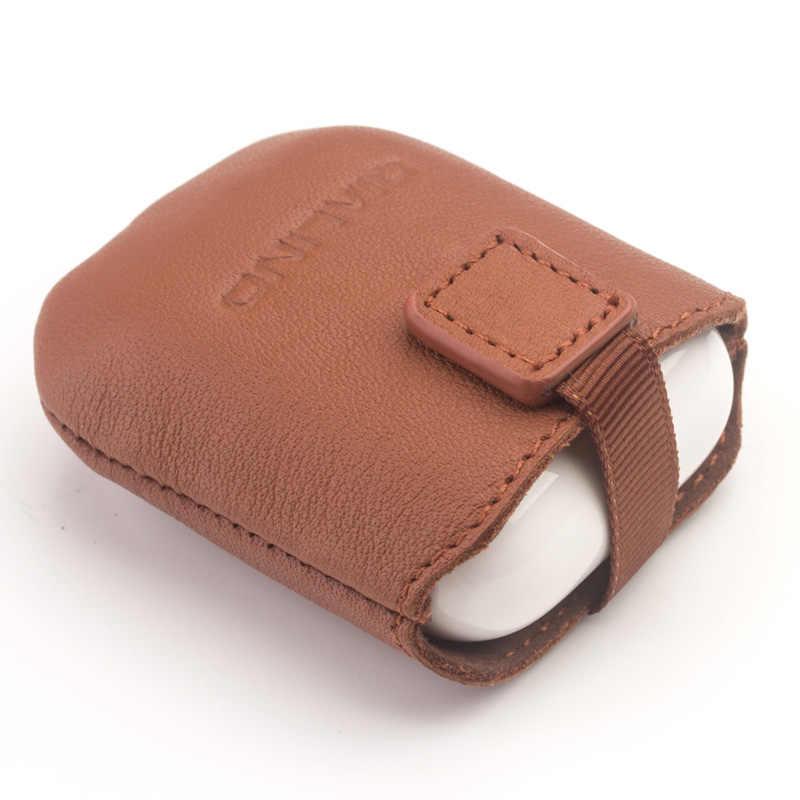 QIALINO étui en cuir véritable pour Apple AirPods housse Anti-perte en Silicone souple Mini poche pour Apple AirPods sac Ultra mince