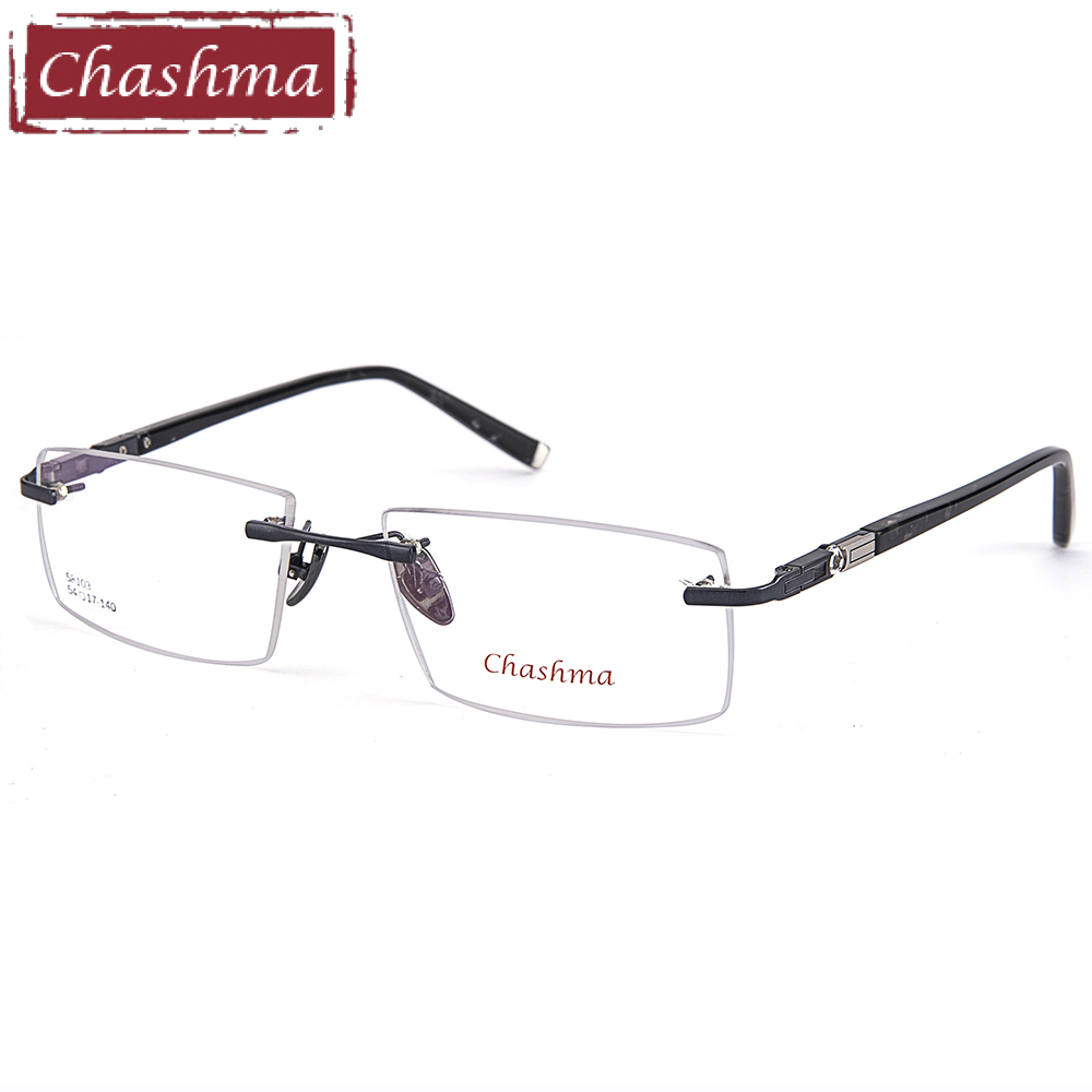 Anti Blue Ray Computer Working Prescription Glasses Titanium Eyeglasses Rimless Ultra Light Myopia Optical Frame Frames for Men(China)