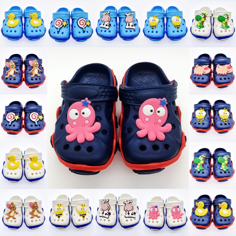 Children Boys Garden Clogs EVA Soft Sandals With Yellow Duck/Diansour/Pig/Bee/Cow/Octopus/Mouse/Lollipop Charms