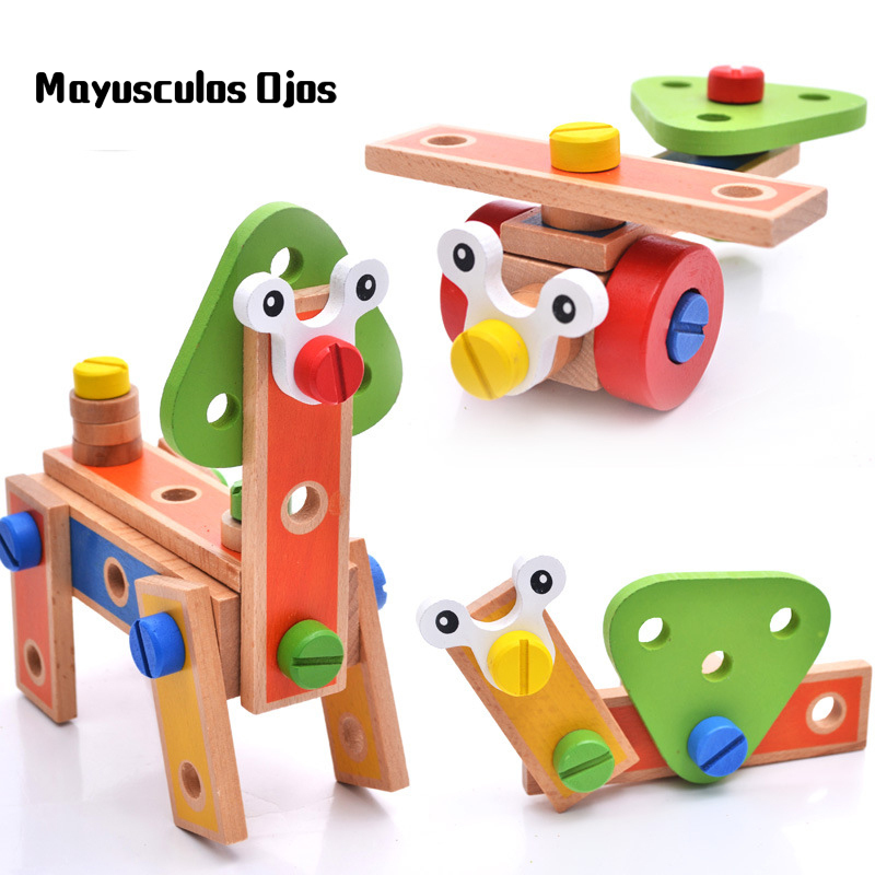 1Set / 45PCS Wooden Children 45 Pieces Cartoon Nut Combination Multifunctional Disassembly Building Blocks Educational Toys