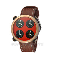 48mm Parnis Multiple Time Zone Red Sandwich Dial Chronograph Mens Watch RP827
