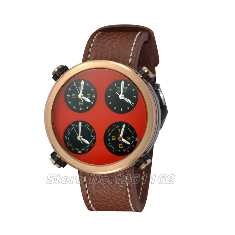 48mm parnis Multiple Time Zone red Sandwich dial chronograph mens watch RP827 тостер ariete 186 party time red