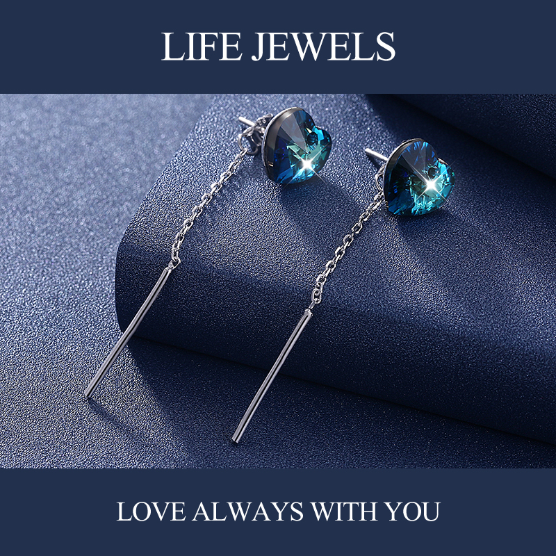 Authentic 100 925 Sterling Silver Austria Zircon Earrings l Women Luxury Sterling Silver Valentine 39 s Day Jewelry Gift 18152 in Earrings from Jewelry amp Accessories