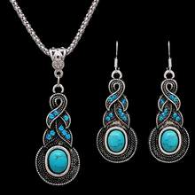 Crystal Necklace Earrings Bohemian Tibetan Silver Color African Beads Jewelry Sets for Women Wedding Costume dubai Jewelry Sets(China)