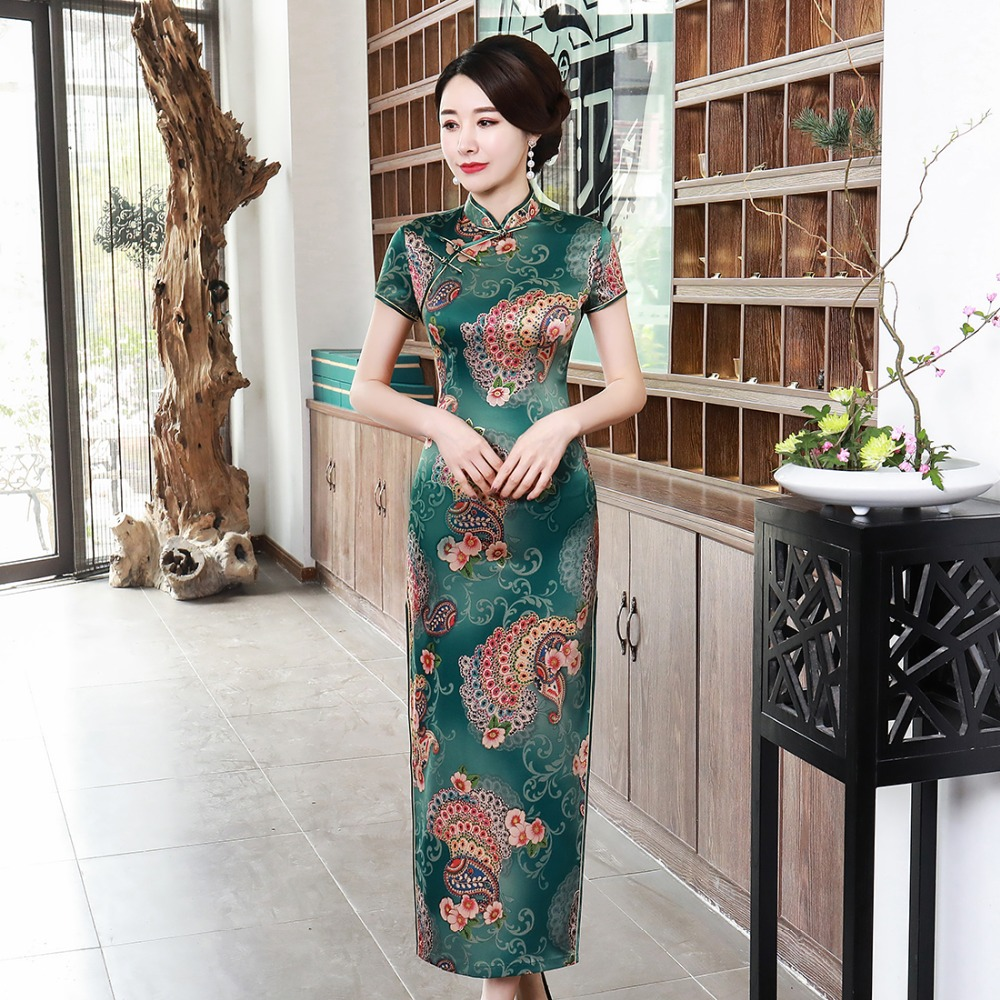 Plus Size 3XL 4XL Sexy Chinese Style Lady Cheongsam Green Long Elegant Women Dresses Print Flower Vintage Evening Party Gown