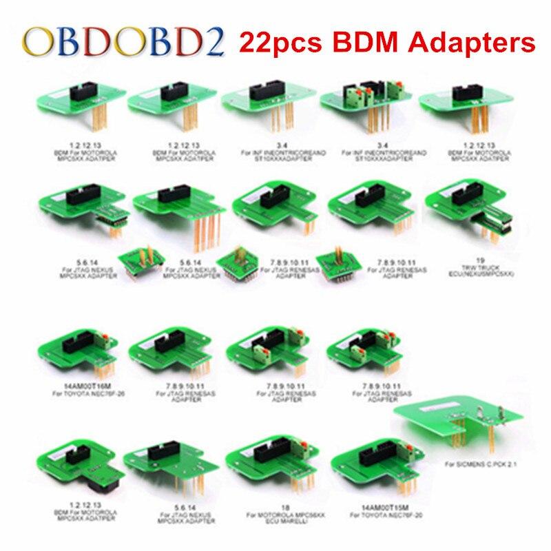Meilleur Qualité 22 pcs BDM Adaptateurs KTAG KESS KTM Dimsport BDM Sonde Adaptateurs Ensemble Complet LED BDM Cadre ÉCUS RAMPE adaptateurs DHL Livraison