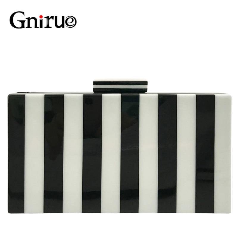 Classic Stripe Clutches Women Acrylic Clutch Fringe Crossbody Evening Bags Black and white Handbags Luxury Shoulder