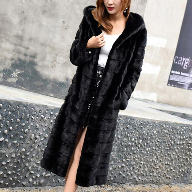 Luxury Long Customize Plus Size Factory Real Price Genuine Rabbit Real Fur Coat Women Fur Jacket New Winter sr587 5