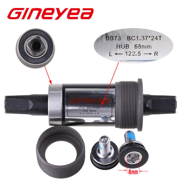 US $9 8 |Gineyea Bicycle BSA Bottom Bracket 122 5mm Quare Hole Crank Axis  bicycle parts BB for Square Tapered Spindle Crankset-in Bottom Brackets  from