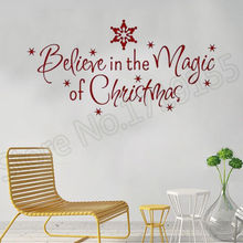 YOYOYU Wall Decal Creative quotes Believe in the Magic of Christmas Stickers home decoration holiday vinyl stickers ZW63