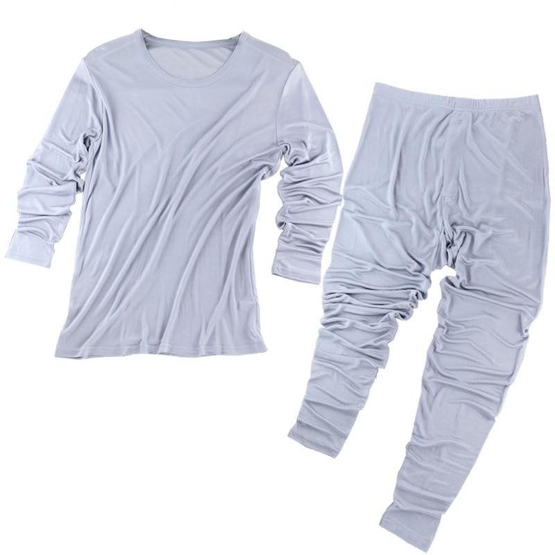 100% natural Silk long johns, Autumn And Winter, High grade Silk, Breathable Thin Underwear, Warm Underwear, Men's Big Code. - 4