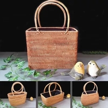 Vietnamese rattan shopping bag basket storage willow box tank