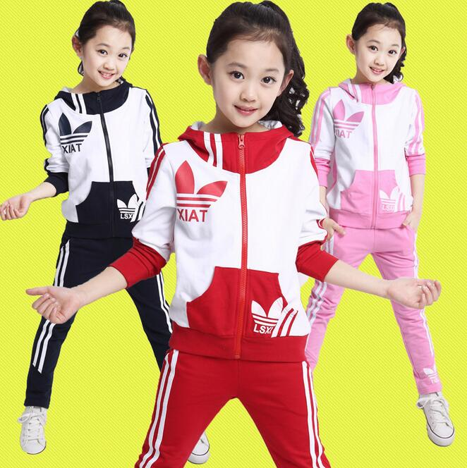 Active Zipper Kids Clothes Long Sleeve Baby Girl Clothing Sets Fahion Letter Ensemble Fille Casual School