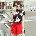 От имени летом Новое Платье Моды Шифона печатных рубашку эластичный пояс случайные шорты костюм