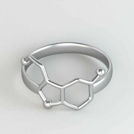 1Piece Serotonin Molecule Ring Girl Chemistry Jewelry Neurotransmitter Science Jewelry Rings for Women R158