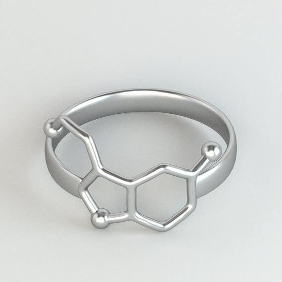 1 шт серотонина молекула кольцо девушка Химия Jewelry нейромедиатора наука ювелирные изделия Кольца для Для женщин R158