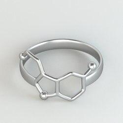 1 Peças Menina Do Anel Jóias de Química da Molécula Do Neurotransmissor Serotonina Ciência Jóias Anéis para As Mulheres R158