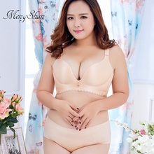 Smooth Trackless Large Bra Suit Fat mm oversize bra suit Fertilizer and thin cotton cup plus size women set