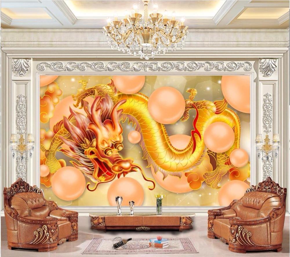 US $14 91 OFF 3d Ruang Wallpaper Kustom Foto Mural Naga Bola Naga Kuning Gambar Dekorasi Lukisan 3d Dinding Mural Wallpaper Untuk Dinding 3