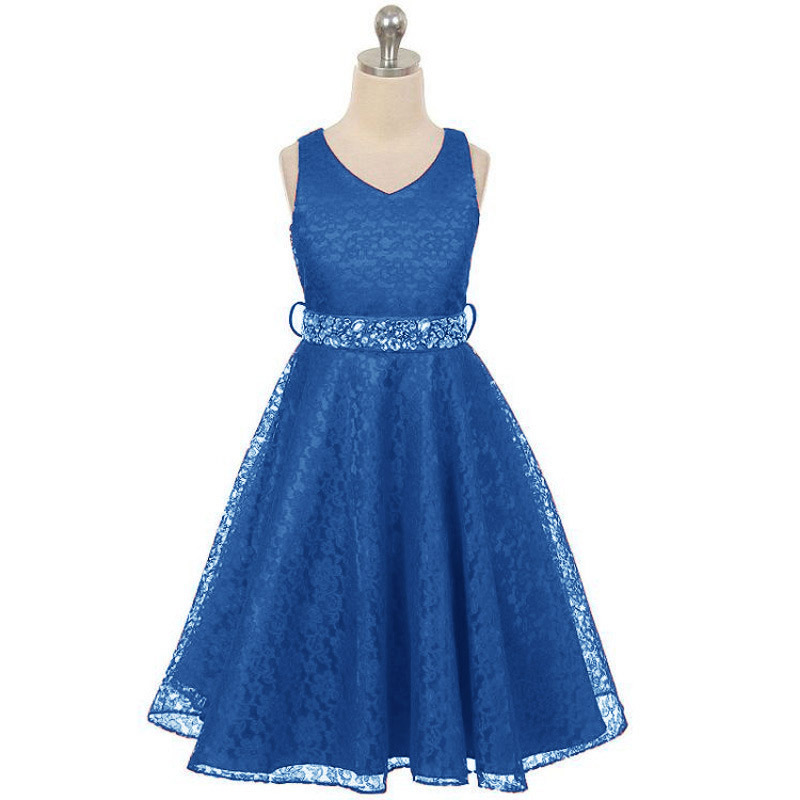 2017 New party dress for girl kids dress children V- neck teenagers prom gowns dresses birthday Lace Bright drill princess dress цены онлайн