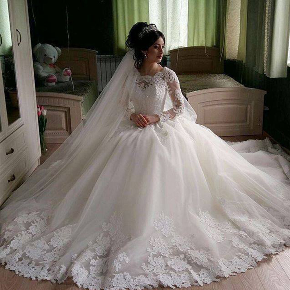 Buy robe de mariee full long sleeve lace for Long sleeve plus size wedding dress