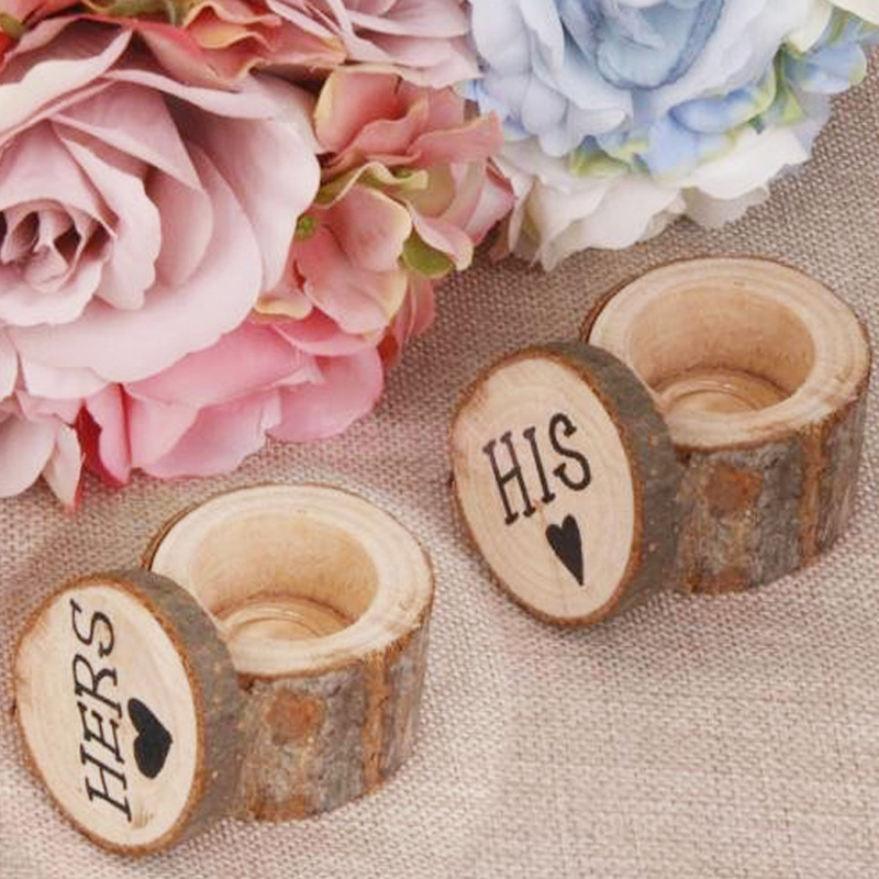 hot 2 pcs romantic wooden ring box his and hers chic vintage original ecological wood crafts lettering wedding supplies 2017