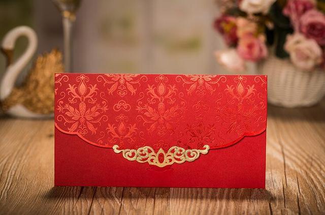 30pcswedding decoration wedding envelopes red embossed flower