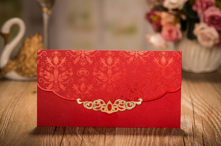 30pcswedding decoration Wedding Envelopes Red Embossed Flower Printing Wedding Invitation Envelope Paper Envelope for Gift Card
