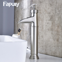 107-22N Bathroom Faucet Brushed Nickel Single Lever Waterfall Tap Cold & Hot Vessel Faucet Grifo Lavabo 107-11