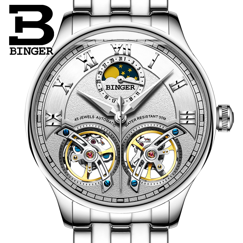 2017 NEW arrival men s font b watch b font luxury brand BINGER sapphire Water Resistant
